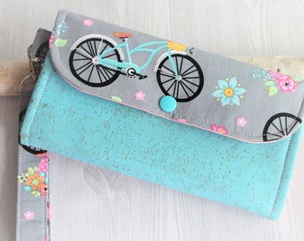 Bikes and Florals  Womens wallet, wristlet clutch wallet, womans handmade fabric wallet, iphone wallet, slim accordion wallet