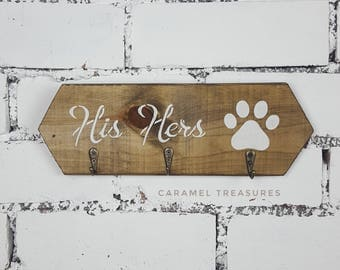 His Hers Paw Print Dog Leash Holder Key Hook Rack His Hers Key Holder Dog Lead Hook Lead and Key Holder Entryway Organiser Gift for Couples
