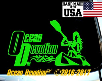"Kayak-Canoe ""Ocean Devotion"" Vinyl Decal/Sticker- Beach Life, Salt Life, Surfing, Fishing, Paddle Boarding, Kite, Ocean, Sea Life, Car, Boat"