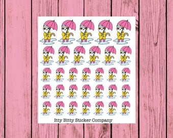 Mauly goes Singing in the Rain - Hand Drawn IttyBitty Kitty Collection - Planner Stickers