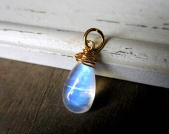 Rainbow Moonstone Pendant, Rainbow Moonstone Briolette, Gold Filled, Vermeil Pendant, Rainbow Moonstone Charm, Birthstone Charm