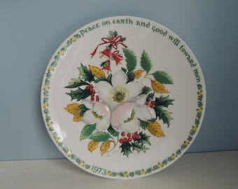 Vintage Crown Staffordshire Plaque, Christmas Rose,1973, Second edition, Peace on Earth and Good Will Toward Men, Christmas Collector Plate