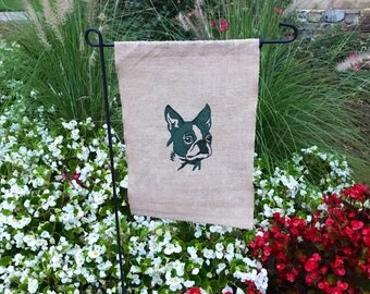 Boston Terrier Garden Flag Embroidered Burlap