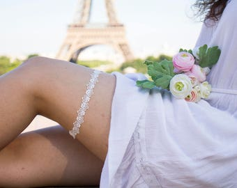 Wedding garter ivory Lace garter Bridal garter Wedding garter Flower garter Bridal garter Simple wedding garter