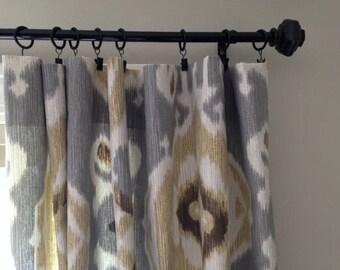 gray beige curtains etsy. Black Bedroom Furniture Sets. Home Design Ideas