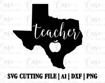 Texas Teacher SVG Cutting file, ai, dxf and png | Instant Download | Cricut and Silhouette | Apple | Teacher | Southern | Texas Life