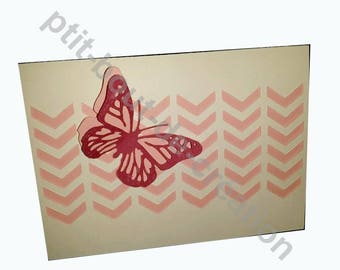 Butterfly decorative plaque pink and white card