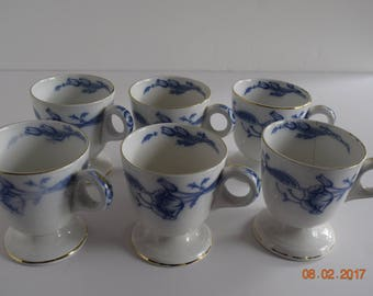 Set of 6 Eversley Flow Blue By Burgess & Leigh Chocolate Cups / Custard / Zabaglione / Demitasse /Tea / Rare 1880 -1910
