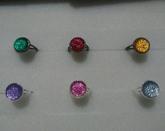 Rhinestone collection - colorful rhinestone cabochon Adjustable ring