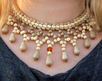statement jewelry statement necklace bib necklace Bohemian necklace boho jewelry Wooden jewelry Wooden necklace Wood jewelry Wood necklace