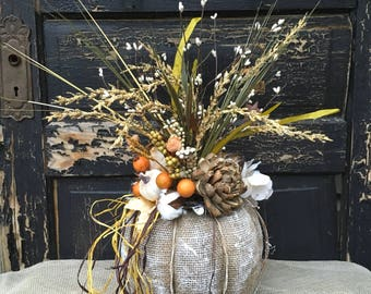 Burlap Pumpkin with Grapevine Centerpiece, Thanksgiving Pumpkin Arrangement, Farmhouse Pumpkin, Rustic Pumpkin, Primitive Pumpkin, Fall Deco