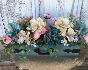 Spring Floral Arrangement in Teal and Pink, Summer Floral Arrangement in Distressed Wood Box, Wedding Centerpiece, FAAP, Mothers Day
