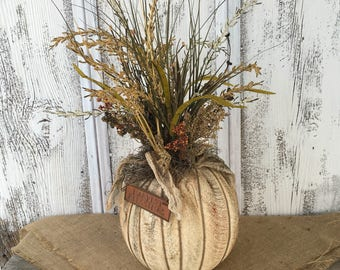 Primitive Table Pumpkin Arrangement, Fall Pumpkin Centerpiece, Harvest Pumpkin Arrangement, FAAP, Autumn Pumpkin Arrangement