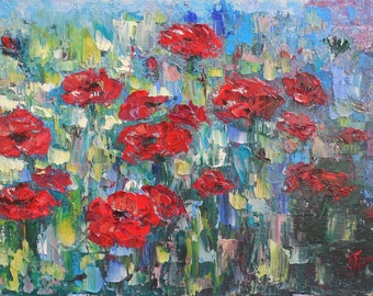 Poppies Original Handmade Oil Painting on canvas impressionism fine art impasto floral painting by palette knife