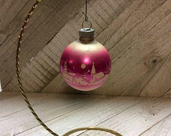 Vintage Mercury Glass Shiny Brite Christmas Ornaments 1950's  Pink Stencil Ornament  Ornament
