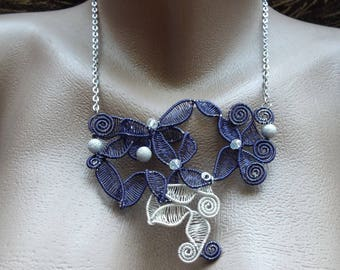 Wire Necklaces, Cristal necklaces, Copper jewelry, Copper wire jewel, Blue silver jewels, Chains necklace, Chains jewelry, Art jewelry gift
