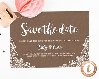 INSTANT DOWNLOAD Save the Date, Save the Date Template, Save the Date Printable, Wedding Printable, Wedding Template, Templett, PDF04