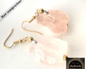 Rose quartz earrings, spiritual jewelry, healing jewelry, spiritual gift, raw crystal earrings, natural earrings, chakra jewelry