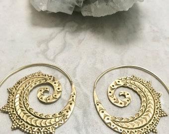 Brass spiral hoop earrings