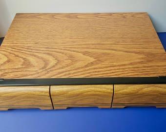 Vintage Three Drawer 42 Ct Audio Cassette Holder, Music Storage Box Holder Organizer, Retro Audio Cassette Storage, Cassette Tape Holder