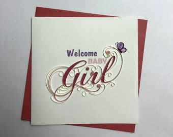 Baby Girl Quilling Greeting Card