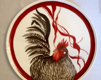 Rooster, round tile