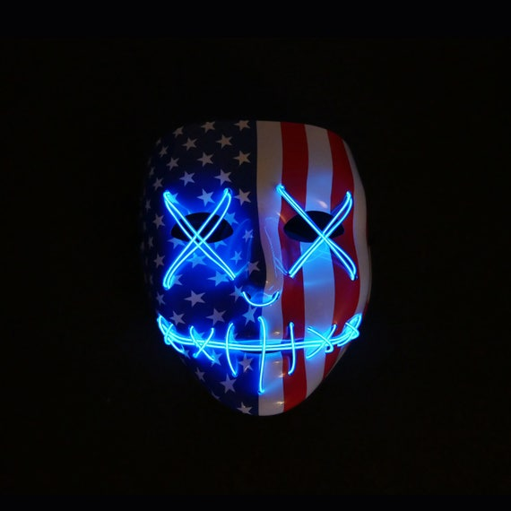 Light Up Mask Stitched American Flag 4th Of July Edition EDM