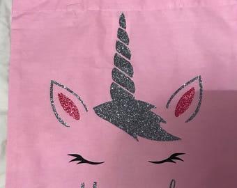 Unicorn tote bag, personalised tote bag, unicorn personalised bag, glittery tote bag