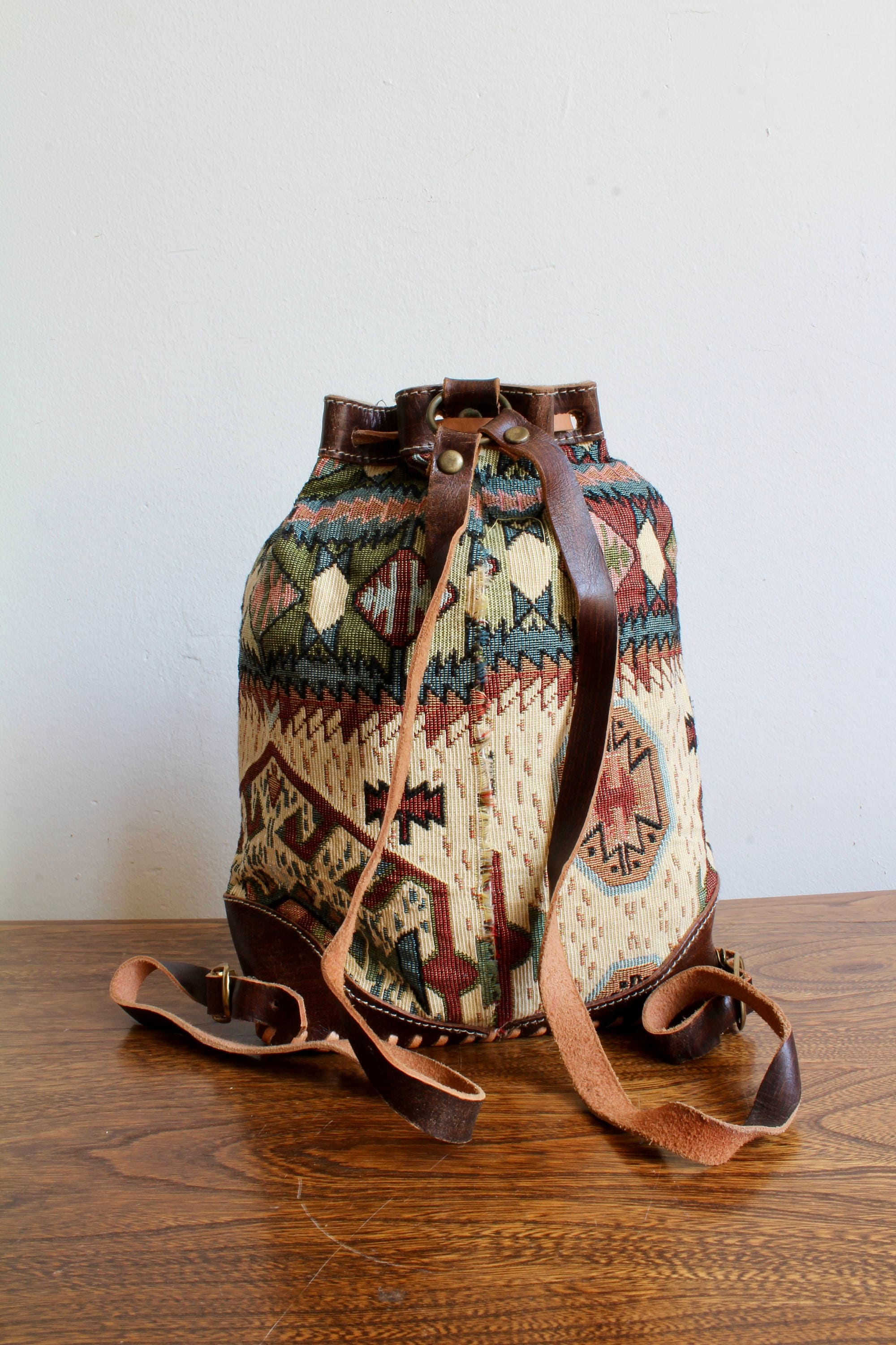Boho 90s Mini Drawstring Backpack Purse, Leather and Fabric ...