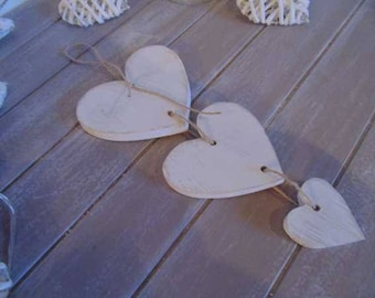 Decorative hanging wooden hearts