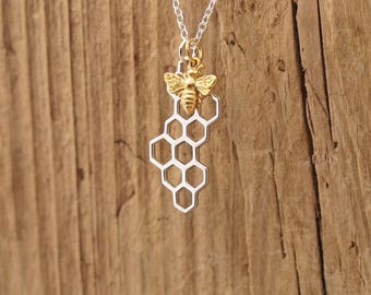 Sterling Silver Gold Bee And Honeycomb Charm Pendant Necklace Worker Bee Honeybee Bumblebee