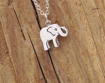 Sterling Silver Tiny Elephant Pendant Necklace Lucky Charm 925