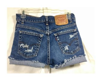 Women's Levis Vintage Short Shorts Distressed