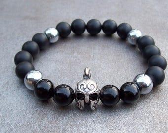 Spartan bracelet, Mens Onyx bracelet, Man's Spartan bracelet, Gladiator bracelet, Game Of Thrones, Gift for him, Modern beaded bracelet