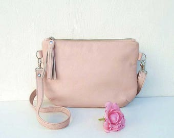 Pink leather bag, crossbody bag powder color, shoulder bag, leather purse, crossbody purse, leather bag, Casual bag, Slouchy bag, Boho bag