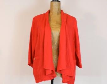 linen jacket   vintage linen jacket   red linen jacket   linen   linen cardigan