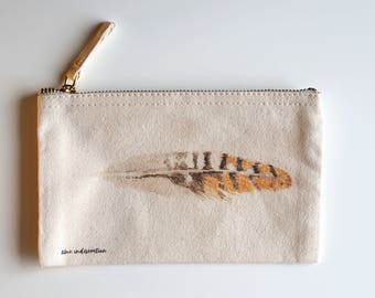 pouch, zipped pouch, vanity pouch, watercolor, make-up, feather, bag, storage