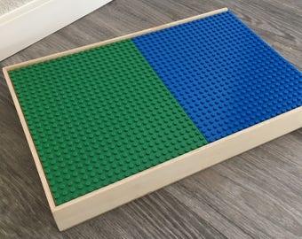 Lego Storage/Travel Box- Blue and Green Base Plates