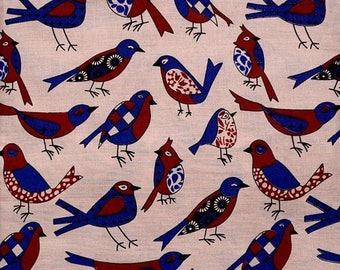 SALE 15% Free Shipping Beige-Blue and Maroon Bird Design Kalamkari Cotton Fabric-5597