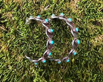Turquoise Petite Point Hoop Earrings