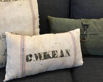 vintage feed sack pillow // grain sack pillow // salvaged feed sack // lumbar pillow