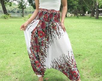Flower White Harem pants,Harem Pants Women,Bohemian Pant,Hippie Pants,Boho Pants,Rayon Thai Harem Pants.