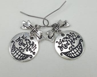 Alice in Wonderland Cheshire Cat Earrings, We're All Mad Here Earrings, Alice in Wonderland Jewelry, Cheshire Cat Grin