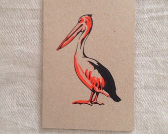 Pelican Orange Card, greeting card, blank card, kraft paper, rustic card, raw, any occasion card, organic card, nature, sea creature card