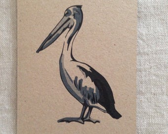 Pelican Black Card, greeting card, blank card, kraft paper, rustic card, raw, any occasion card, organic card, nature, sea creature card