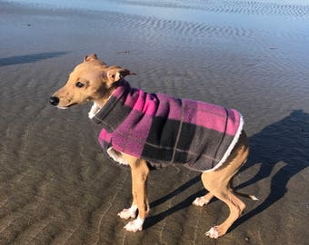 Italian Greyhound Jacket, Dog Sweater, Double-lined fleece, Purple plaid, Dog Clothes, Dog Clothing, Italian Greyhound Clothing.