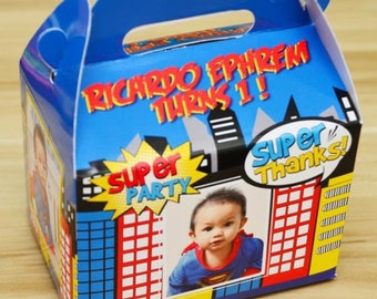 30 Superhero Personalized Favor Boxes / Treat Boxes / Gift Boxes