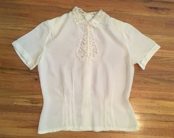 1940's ivory rayon and lace blouse