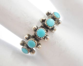 Turquoise Ring, Sterling Ring, Turquoise Band, Bell Trading Post Southwestern Sterling Silver Turquoise Band Ring Sz 7.25 #3160
