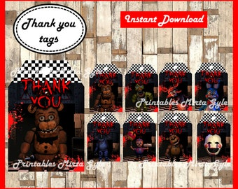 Five Nights at Freddys Thank you Tags, printable FNaF party Thank you Tags, Five Nights at Freddy's Tags